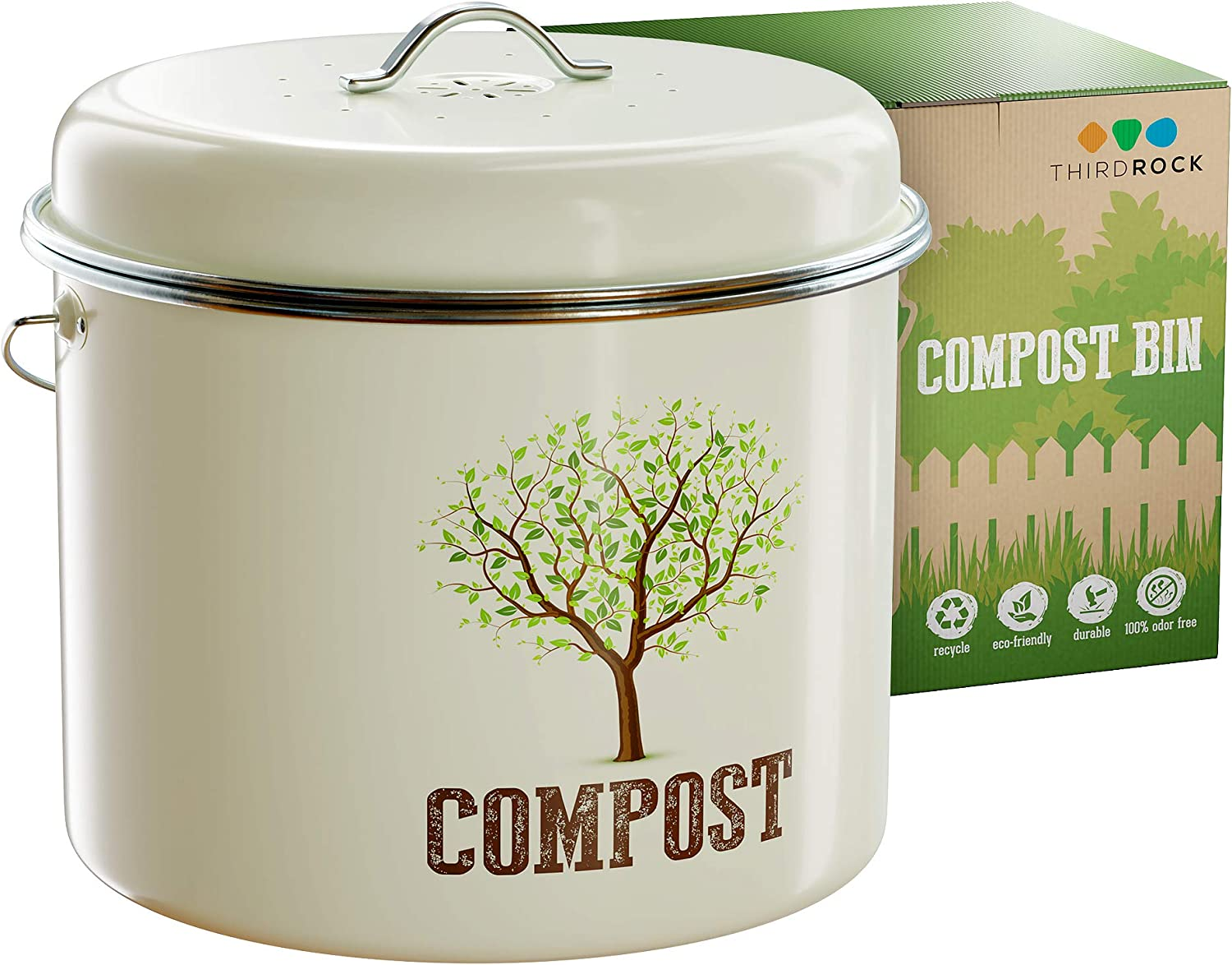 Third Rock Compost Bin for Kitchen Counter - 1 GALLON 3.8 LITER | Premium Dual Layer Powder Coated Carbon Steel Compost Bin Countertop Bucket | Includes Charcoal Filter for Kitchen Compost Bin