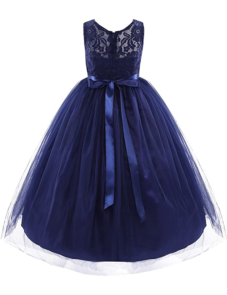 Amazon.com: FEESHOW Navy Blue Kids Girls Sleeveless Tulle Flower Girl Dress Princess Pageant Wedding Bridesmaid Birthday Party Dress: Clothing