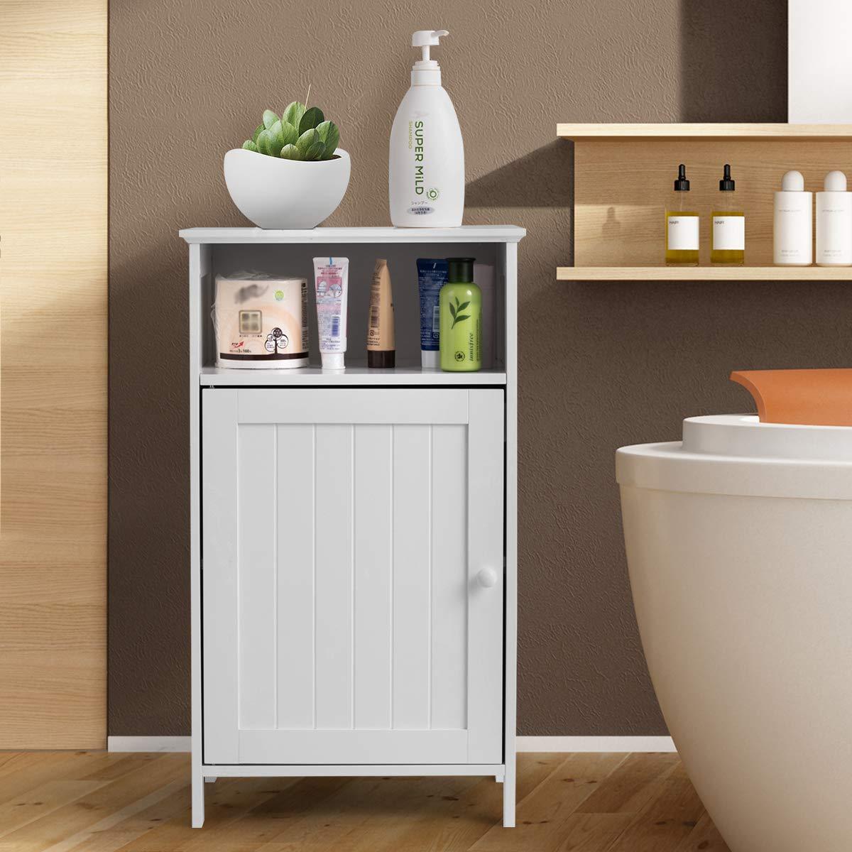 Tangkula Bathroom Floor Storage Cabinet 27.5 with Door Home Living Room Bedroom Sturdy Wooden Modern Side Cabinet Organizer Storage Cabinet Furniture
