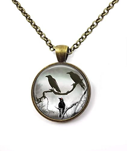 Raven Round Wooden Pendant Necklace