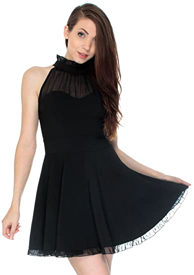 799b96faddb48 Image Unavailable. Image not available for. Color: Simplicity Classic  Ruffled Mesh Sweetheart Collared Little Black Dress