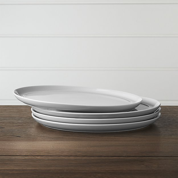 Set of 4 Hue White Dinner Plates | Crate and Barrel