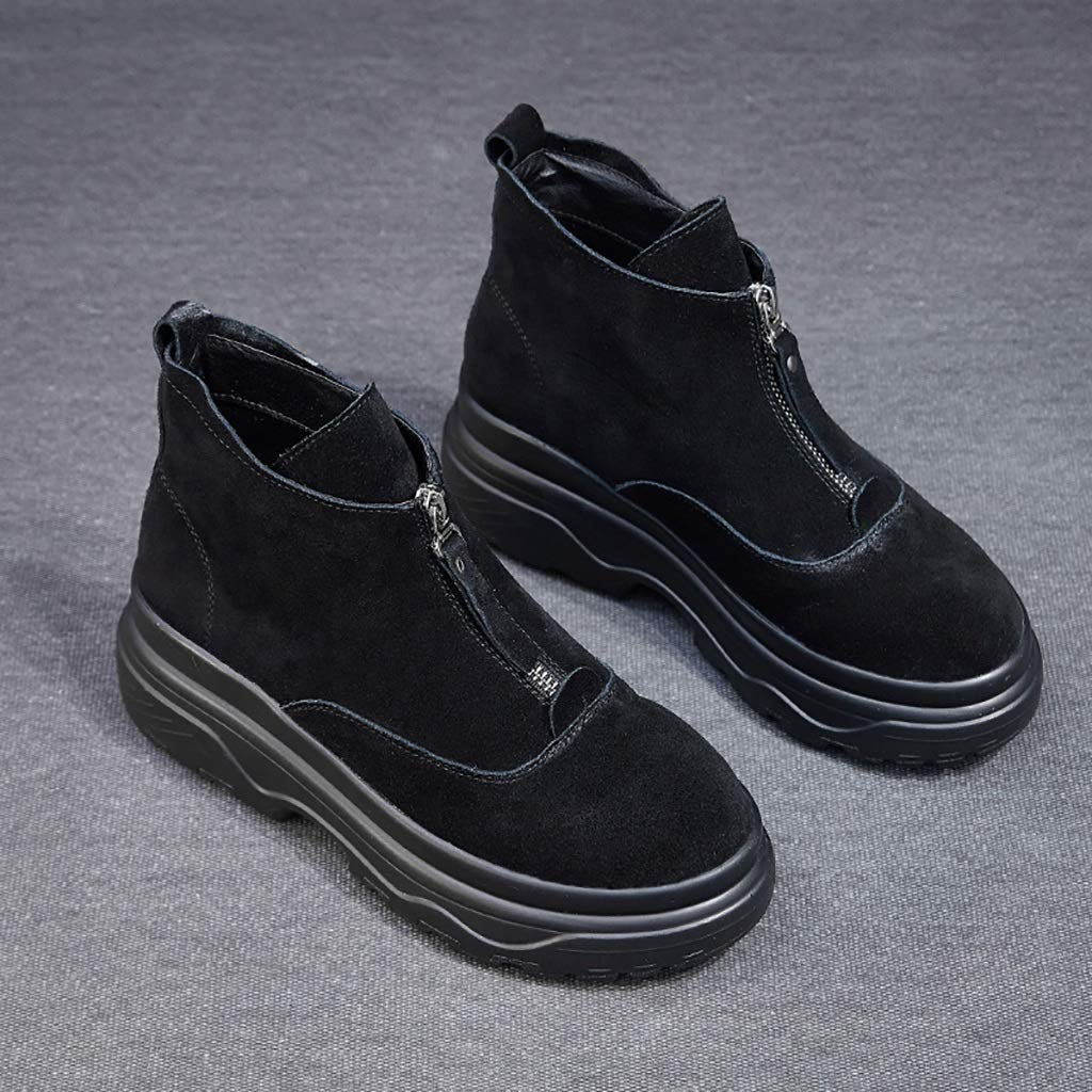 Noir ZYFXZ Baskets Occasionnels Martin Chaussures Nouvelles Bottes pour Dames Tendance Bottes épaisses Bas Fermeture à glissière Avant Martin (Noir, Beige BiCouleure en Option) (Couleur   Noir, Taille   39)