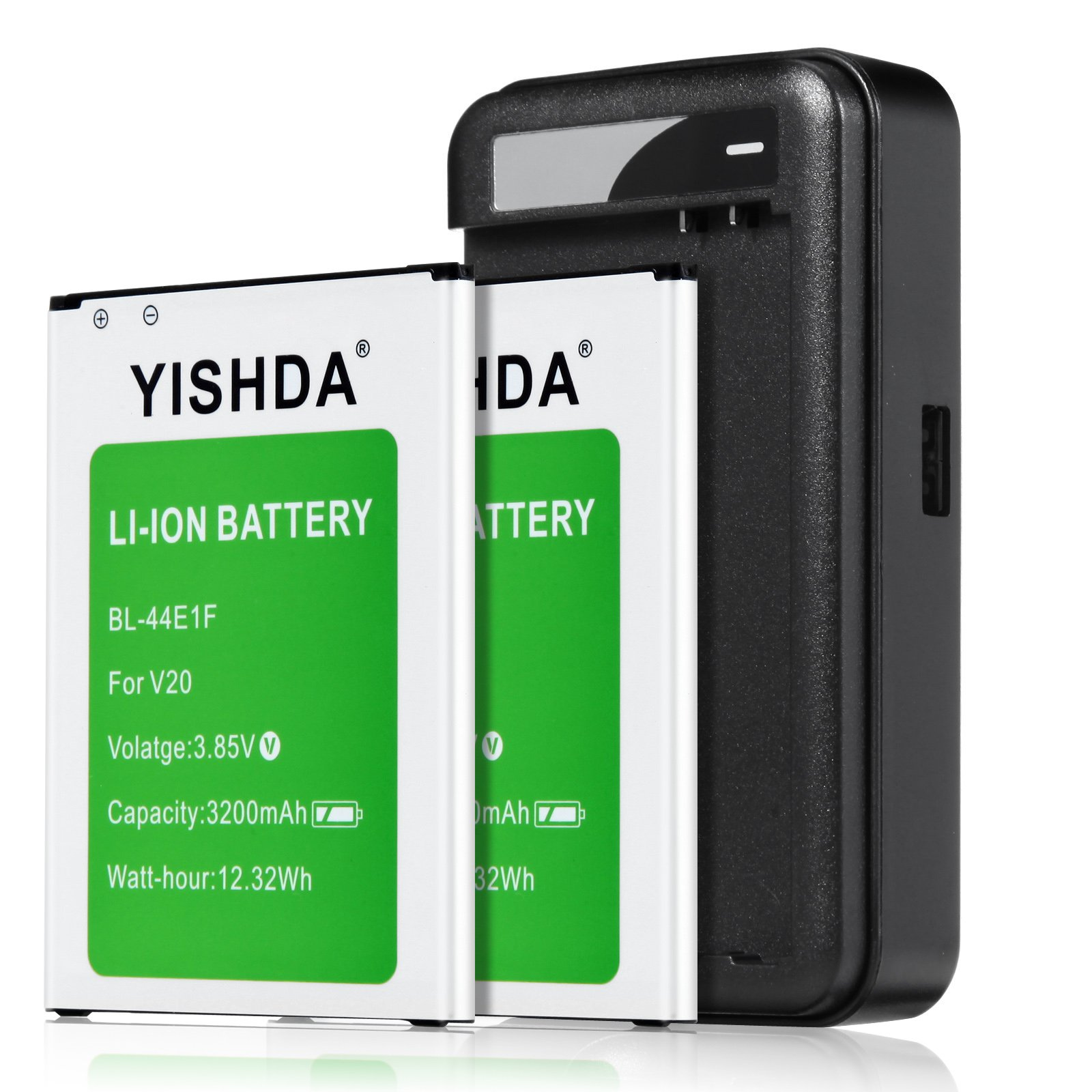 LG V20 Batteries | YISHDA 2 X 3200mAh Replacement LG BL-44E1F Battery with LG V20 Spare Battery Wall Charger for LG V20 H910 H918 LS997 US996 VS995 | LG V20 Battery and Charger Kit [18 Month Warranty]