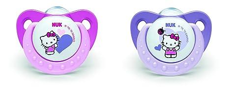 NUK 710303 - Juego de chupetes (talla 3, 2 unidades), diseño de Hello Kitty