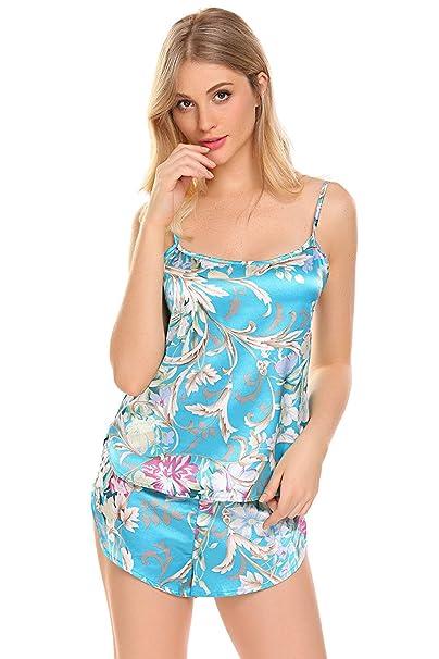 Camisones Mujer Camisola + Shorts Conjunto De Pijama Verano Satín Batas Elegantes Moda Clásico Hermoso Sleeveless Sin Tirantes Impreso Ropa De Dormir Ropa ...