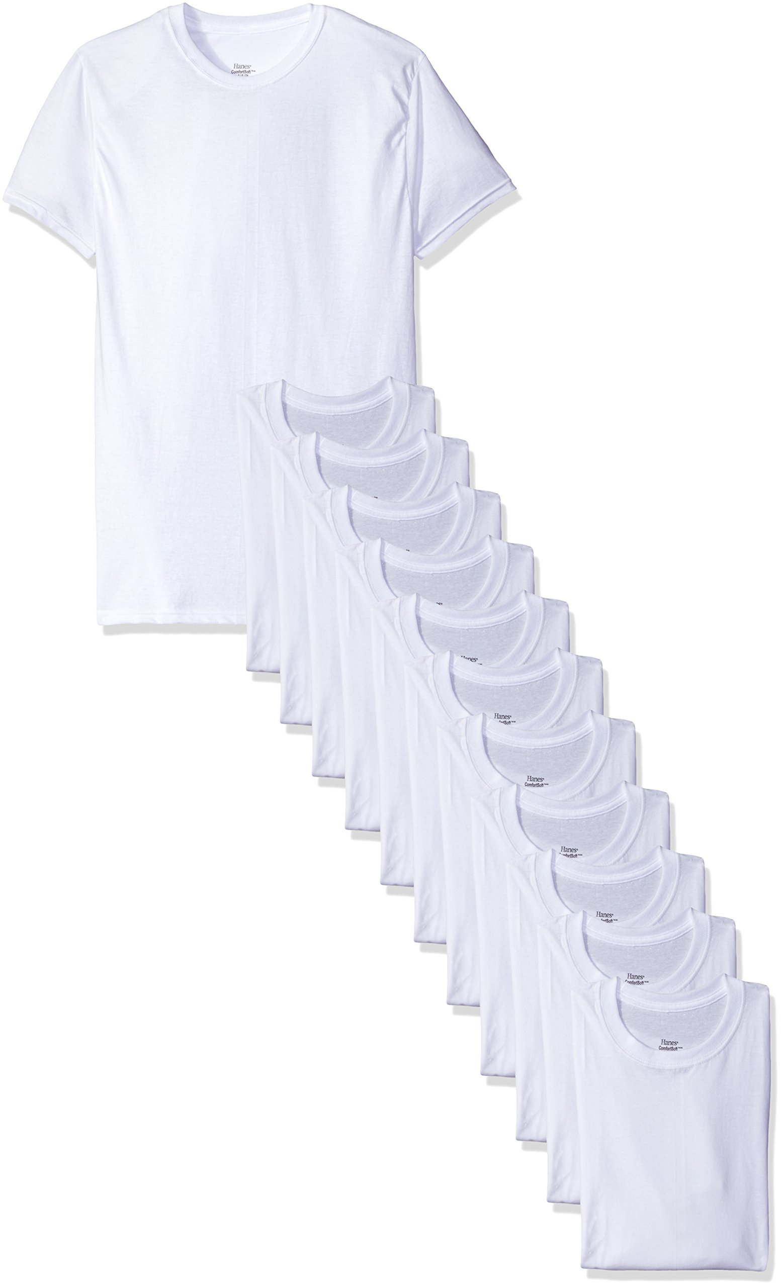 Hanes Men's 12-Pack Crew T-Shirt, White, Large by Hanes