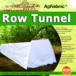 "Agfabric Mini Grow Tunnel for Plants 10' Long x 18"" High,0.9oz Row Cover with 6pcs Steel Hoops,Plant Cover &Frost Blanket for Season Extension and Guard Seed Germination"