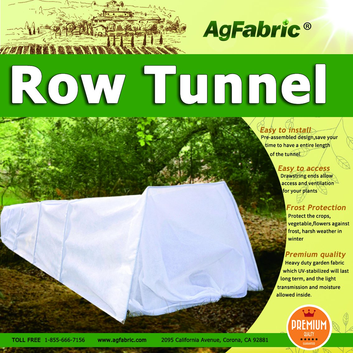 Mini Grow Tunnel 10' Long x 18'' High Quick Tunnel, Easy Nonwovens Tunnel Garden for Plants ,0.9oz Plant Row Cover With 6pcs Steel Hoops Guard Seed Germination & Frost Protection Cover
