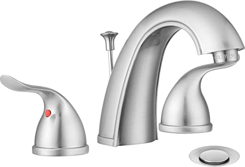 Pacific Bay Treviso Widespread Bathroom Faucet with Pop-up Brushed Satin Nickel Plated