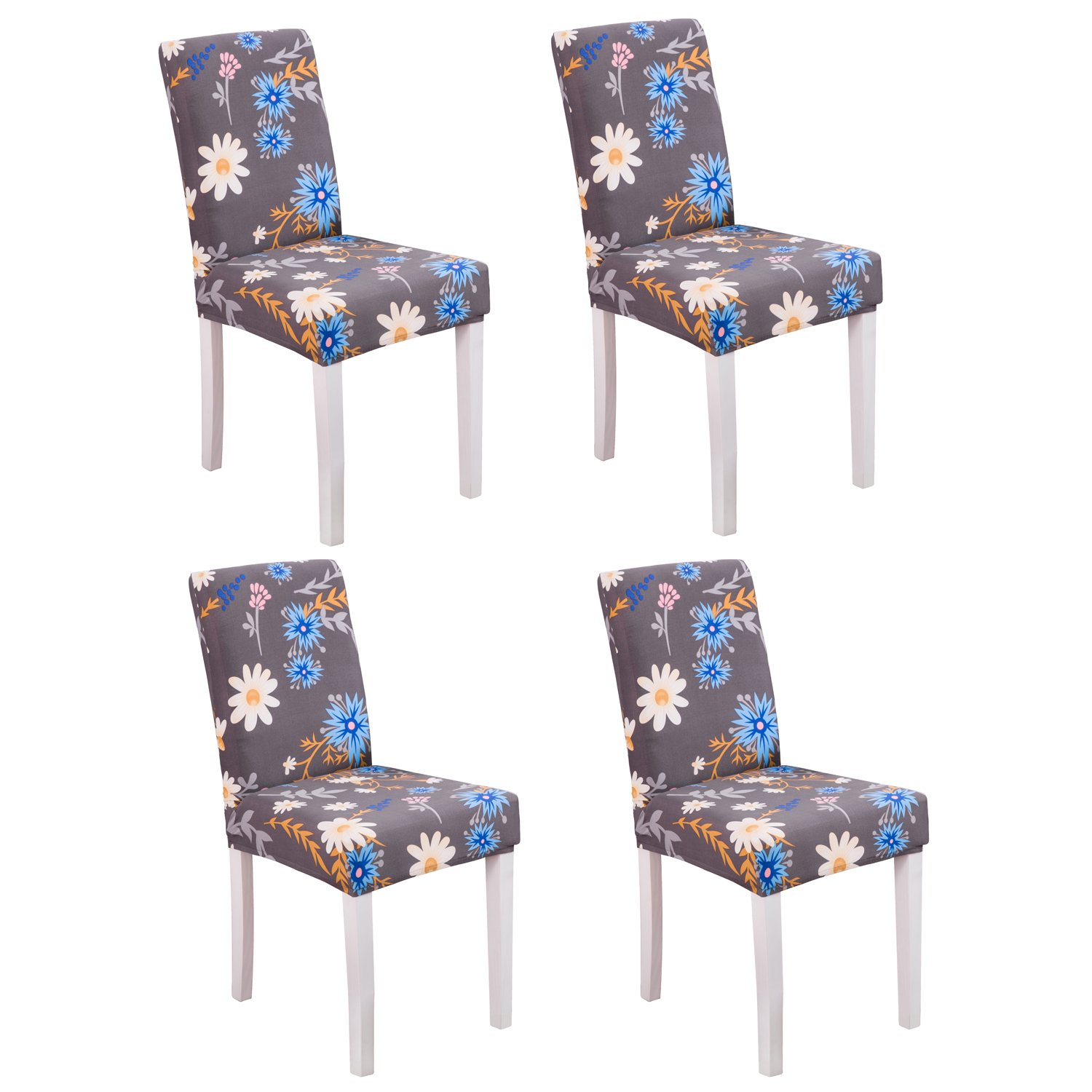 YEESSION Set of 4 Spandex Fabric Stretch Removable Washable Short Dining Chair Protector Cover Slipcover with Printed Pattern(Style 02)