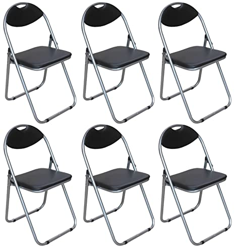 Pack de 6 sillas plegables - negro piel sintética acolchada ...