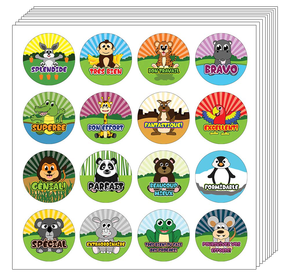 Girls 10-Sheets Unique Sticky Cards Token Giveaway Great Learning Wall Art Decal Stickers Stocking Stuffers Gifts for Kids Boys Creanoso French Animals Praise Words Rewards Stickers for Kids