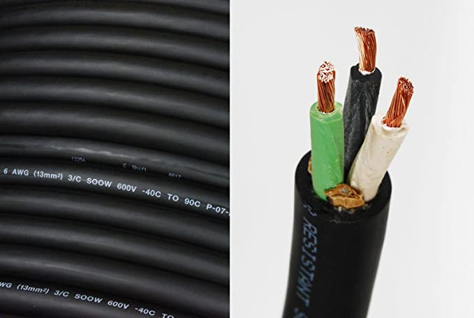 2 AWG 4C 2//4-SOOW Black 600V NON-UL Portable Cord Cable 15FT