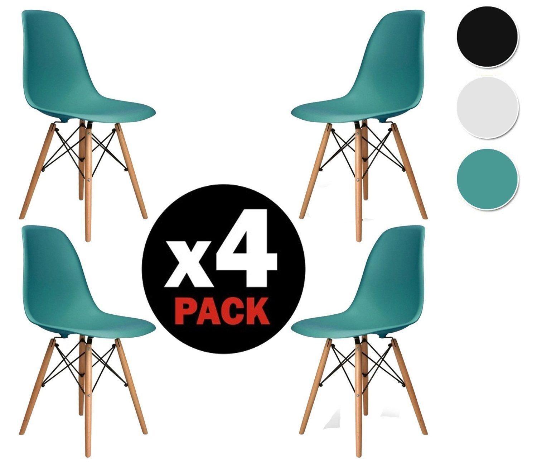 duehome (Nordik) – Pack 4 Stühle Stuhl Tower türkis, Replica Eames ...