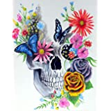 SKRYUIE 5D Diamond Painting Skull with Butterfly Full Drill Paint with Diamond Art, DIY Skeleton Flower Painting by…