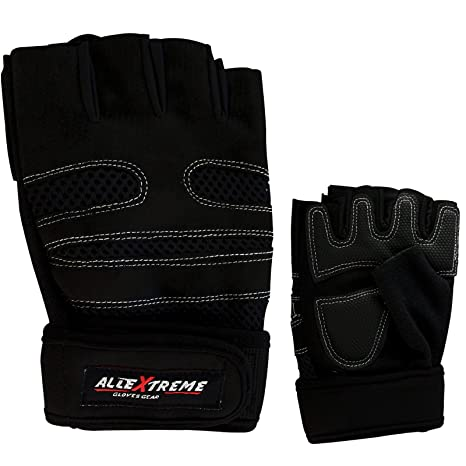 f8751c38a45 AllExtreme Gym Gloves with Wrist Support Quality Sports Accessories - Black  (L)