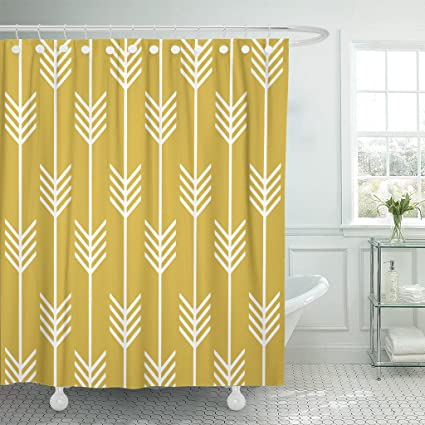 Accrocn Waterproof Shower Curtain Curtains Fabric Modern Arrow Fletching Pattern Mustard Yellow 66x72 Inches Decorative Bathroom Odorless Eco Friendly