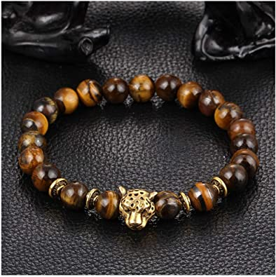 Handmade Beaded Gold /& Silver Lava Stone Tigers Eye Budha Head Bracelets Bangle
