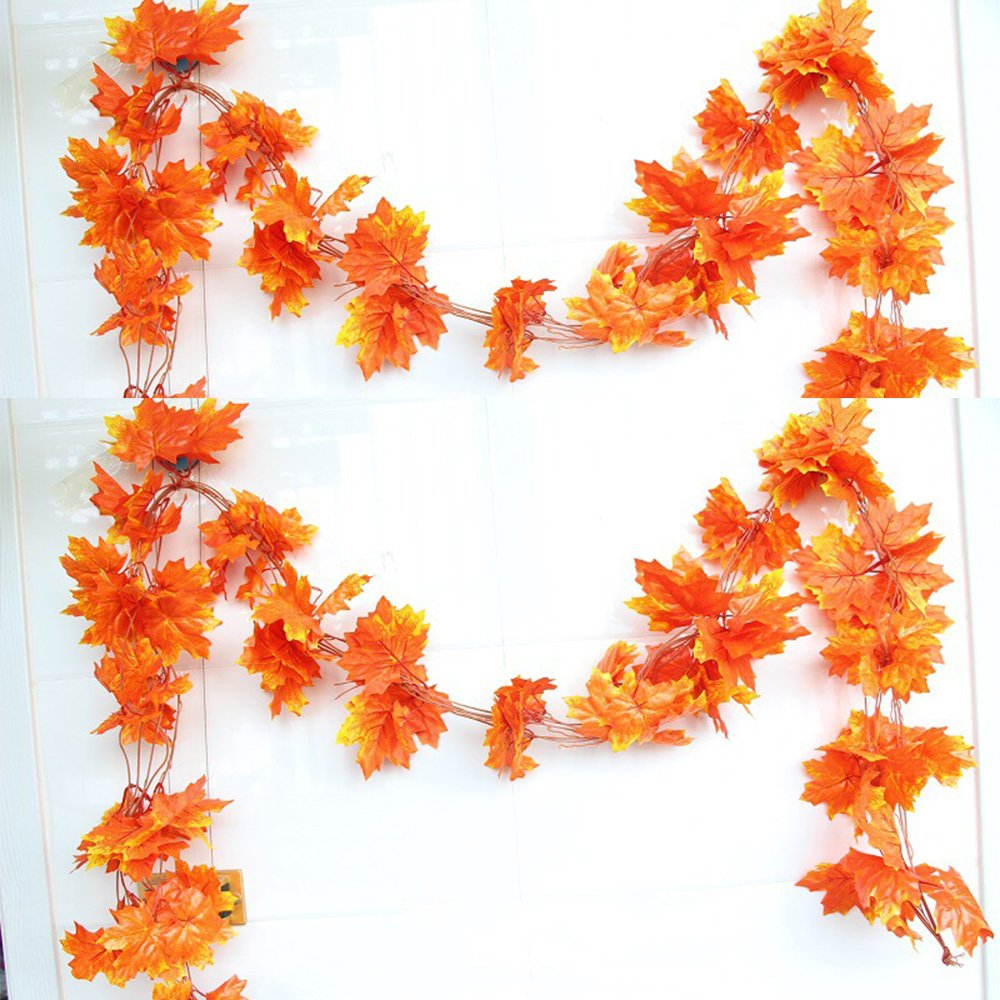YEJI 12pcs 88 Inch Artificial Ivy Red Maple Leaf Leaves Garland Plants Vine Fake Foliage Flower Home Garden Decorations or decorating home, hotel, wedding, party, garden, fences, etc. by YEJI (Image #5)
