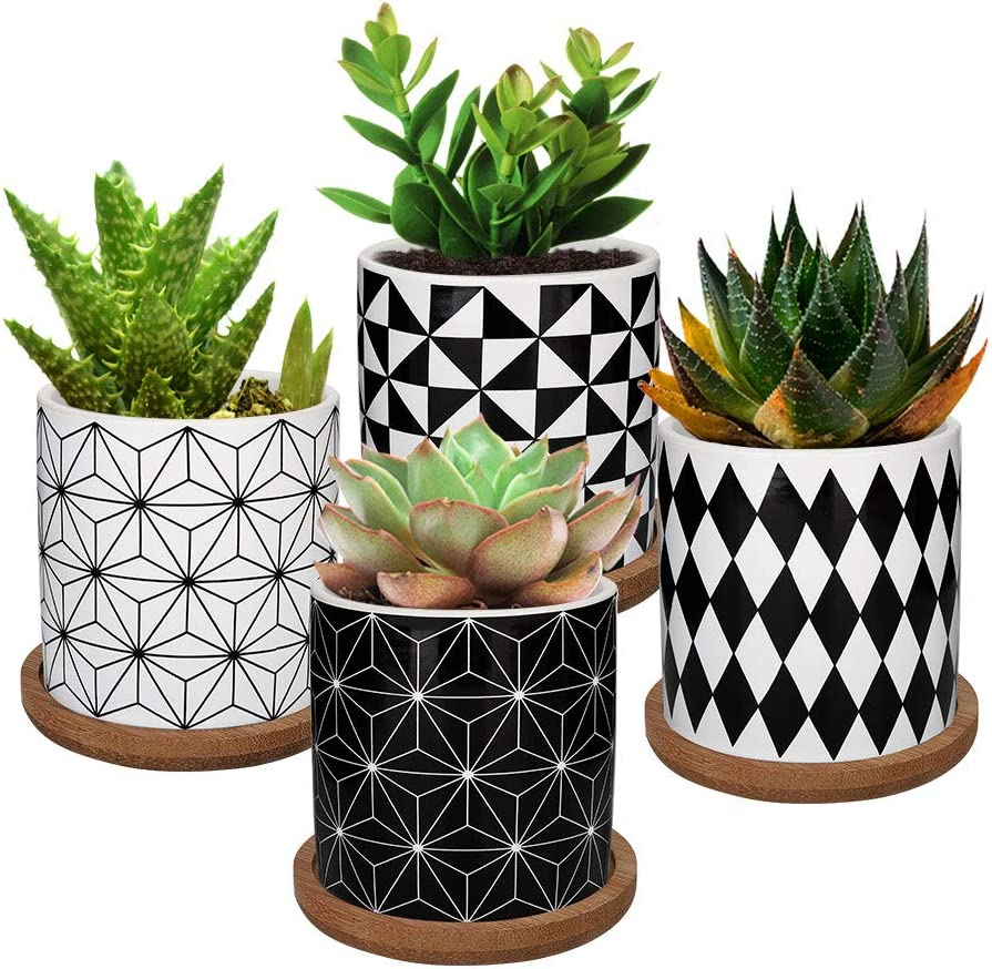 Lewondr 4 Pack Succulent Plant Pots, 2.8 Inch Ceramic Mini Flower Pots Planter with Bamboo Tray for Small Plants Flowers Cactus, Home Decorations Décor - Geometry 01, Black & White