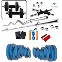 TTC FITNESS 20 Kg Cast Iron Home Gym Fitness Kit BM-230 Weight Lifting Pack with Heavy Rods