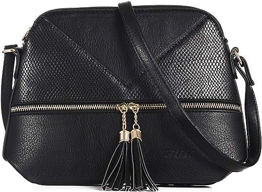 Riliti PU Leather Crossbody Bag with Tassel Zipper PockeRiliti Women's  Crossbody Bag with Tassel Zipper Pocket Shoulder Bag Medium Purse: Handbags:  Amazon.com