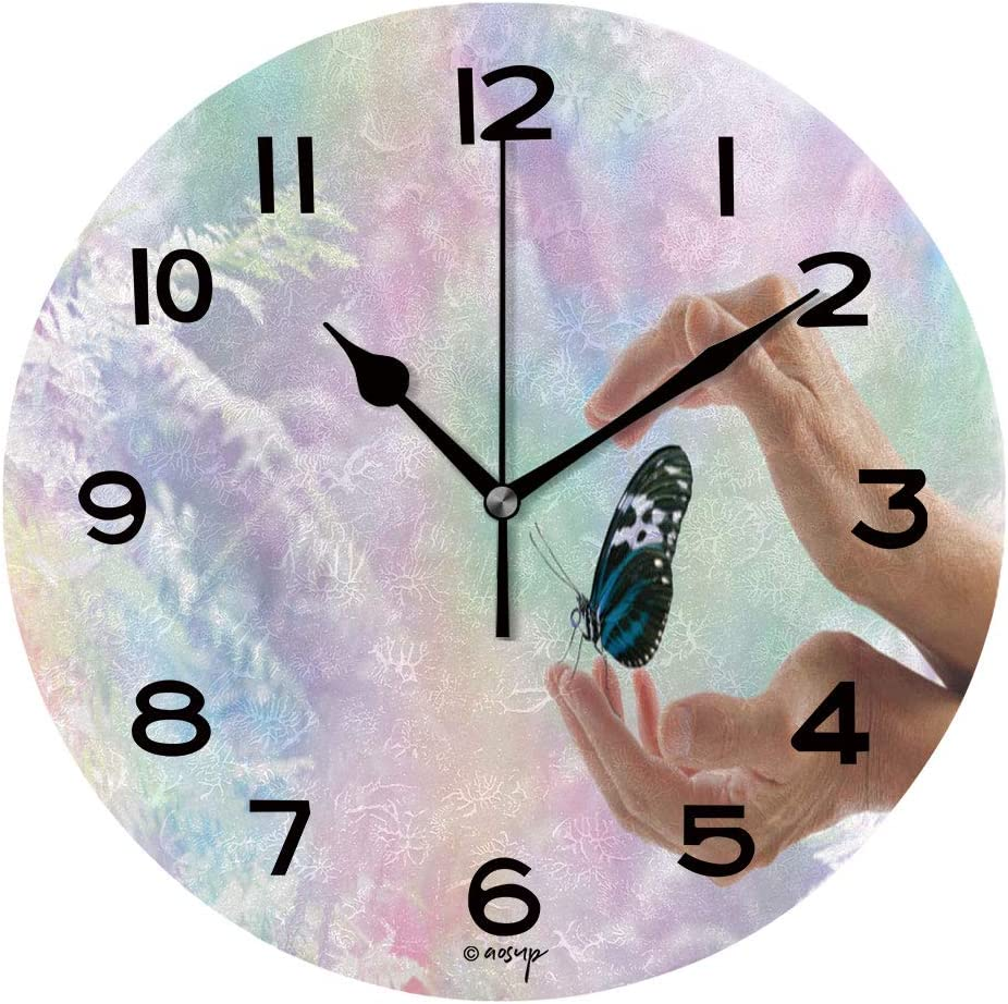 Aluoni Print Round Wall Clock 10 Inch Innocent Moment Of Pure Joy Quiet Desk Clock For Home Office School Is158634 Home Kitchen