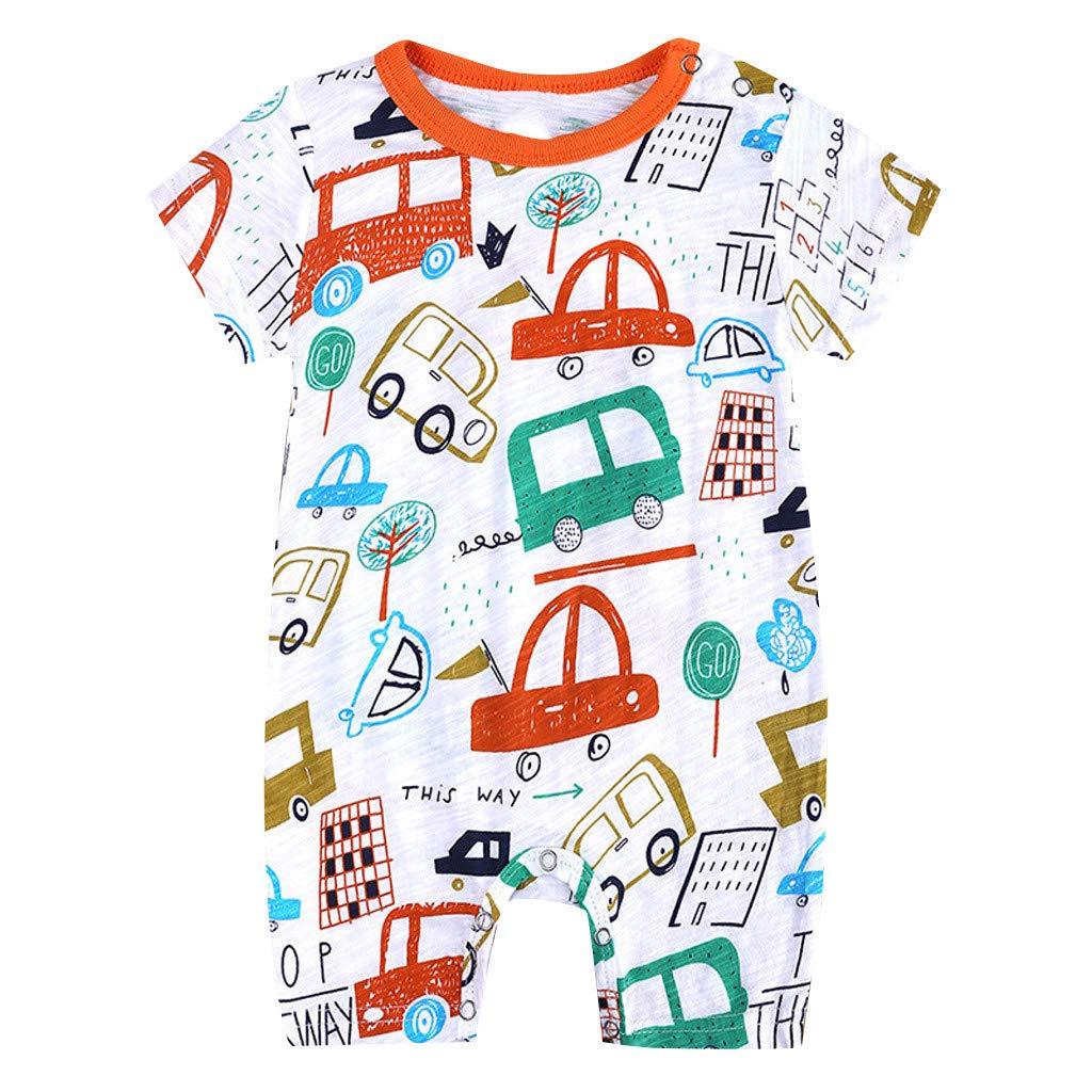 Toddler Newborns Girls Boys Cute Cartoon Floral Print BabySuits Outfits Short Sleeve Sleepwear RomperJumpsuits (Orange, 6-9 M)