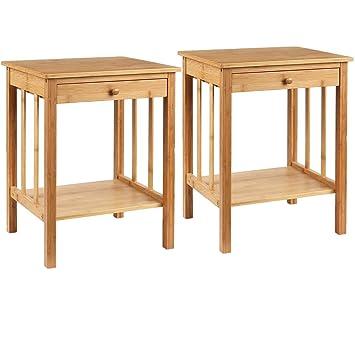 Homfa Table De Nuit Table De Chevet Armoire De Chevet En Bambou Naturel De Style Simple Pour Chambre à Coucher 2 Pièces