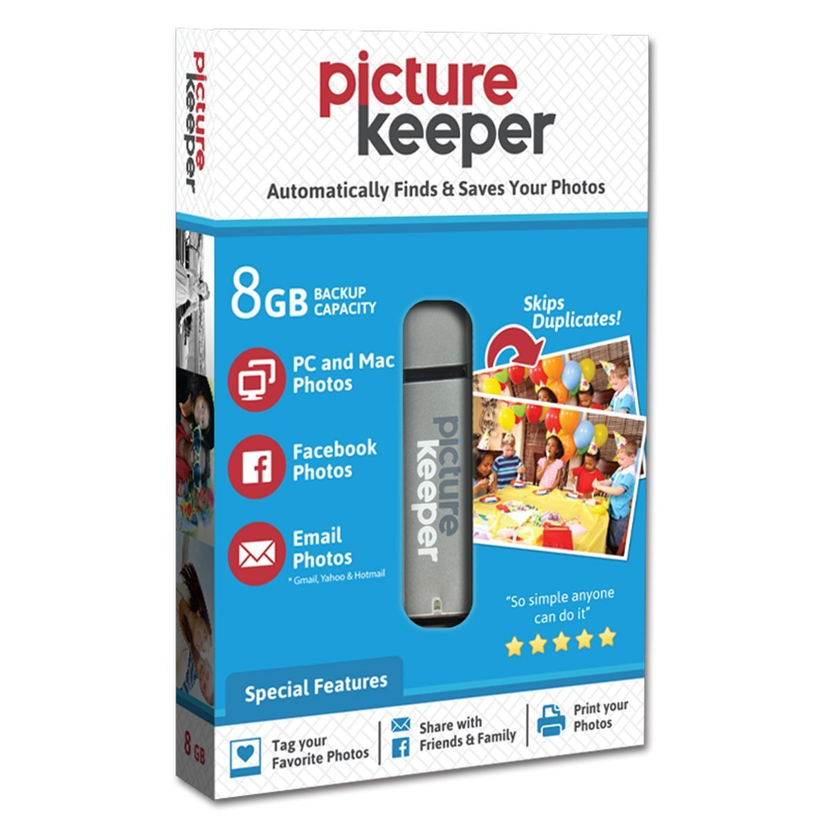 Picture Keeper Portable Flash Drive Photo Backup USB Drive 8GB Simplified IT PK8gb