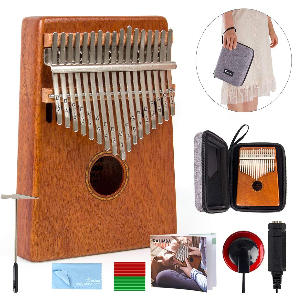 Kalimba 17 Key Finger Piano Marib Mahogany with Padded Gig Bag Tuner Hammer By Kmise by Kmise (Image #1)