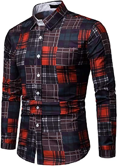 Abetteric Mens Bussiness Long-Sleeve 3D Color Block Plaid Relaxed-Fit Longshirt