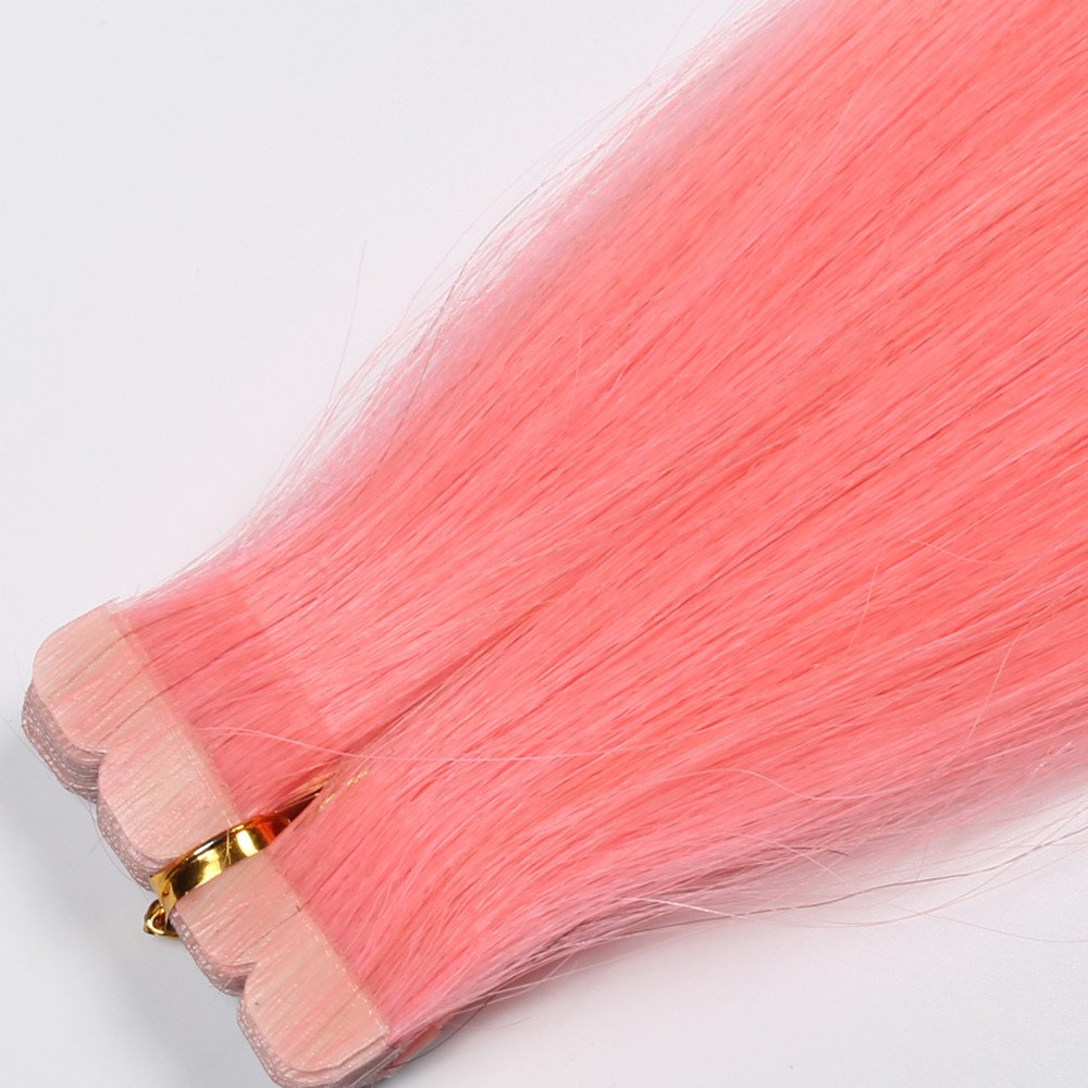 DSOAR 10 Pieces Pink Tape In PU Hair Extension 60cm/24 Inch Skin Weft Human Hair Extension,Can be Restyled by DSOAR (Image #3)