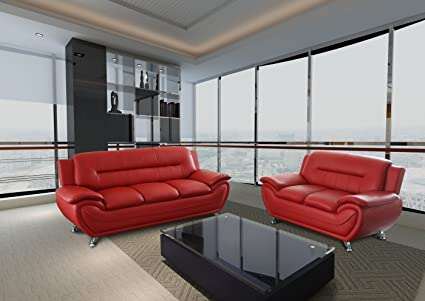 GTU Furniture Contemporary Bonded Leather Sofa U0026 Loveseat Set, 2 Piece Sofa  Set (RED