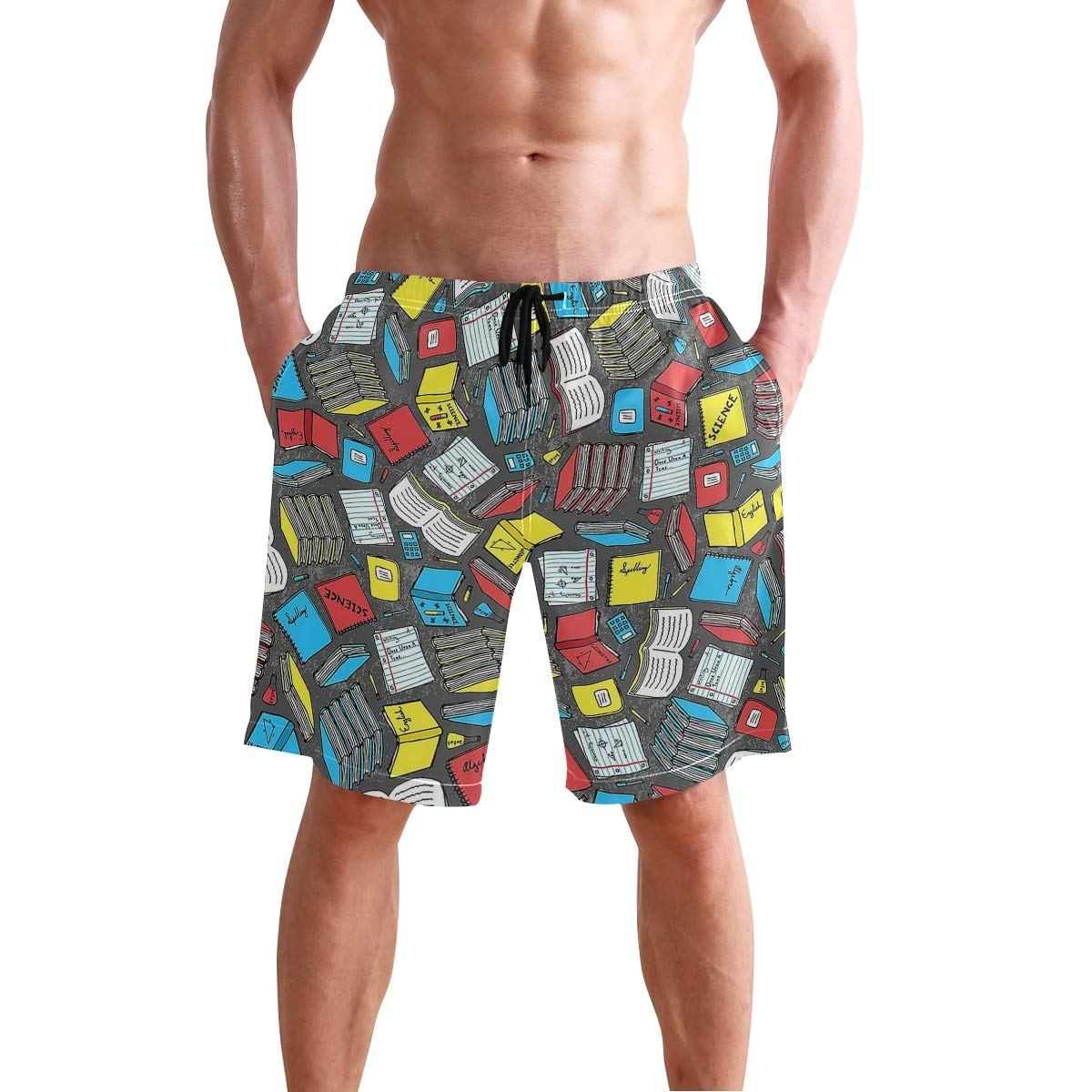 Study Time Mens Swim Trunks Quick Dry Beach Shorts with Mesh Lining