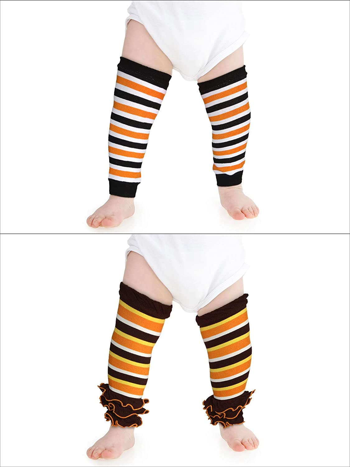 SATINIOR 2 Paar Halloween Thanksgiving Baby Kleinkind Beinlinge Gestreifte Beinlinge