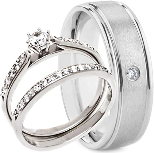 3 Pieces Women/'s .925 Sterling Silver Black Wedding Engagement Rings Band Set