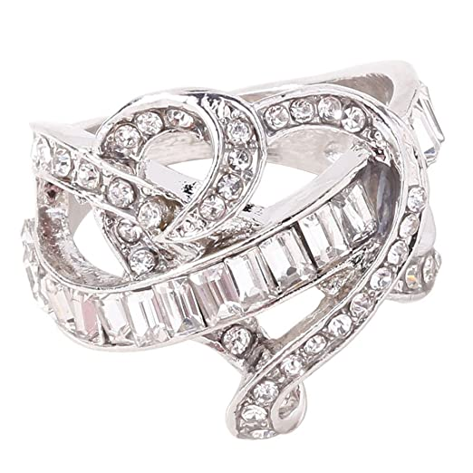 c0815a7919 Amazon.com: Platinum Austrian Diamond Heart Design Zirconia Sapphire Silver  Ring Wedding Bride Engagement Ring: Clothing