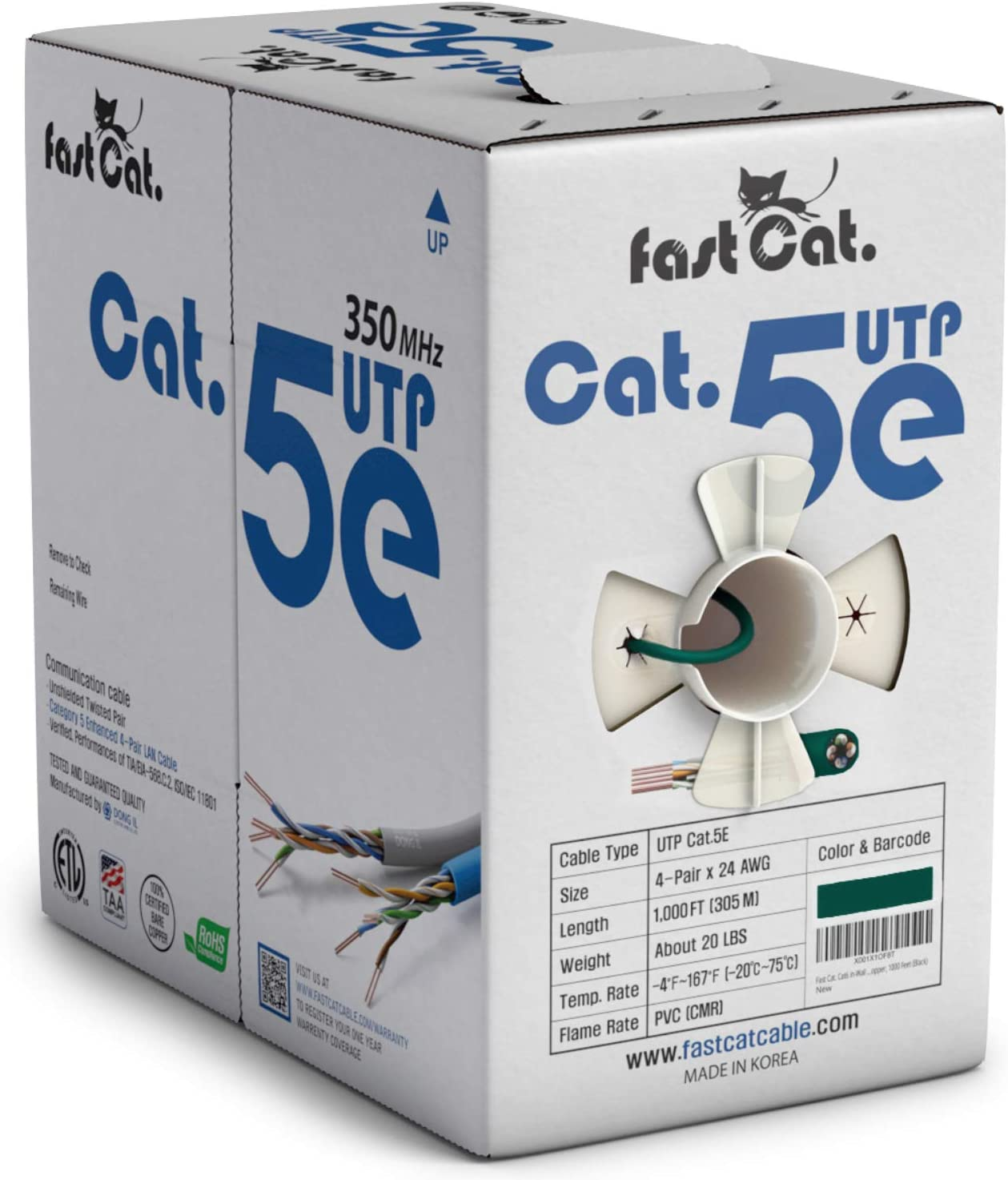 fast Cat CMR Cat5e Ethernet Cable 1000ft Gray 350MHZ // Gigabit Speed UTP LAN Cable Insulated Bare Copper Wire Internet Cable with FastReel