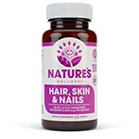 Hair, Skin & Nails Supplement - 5000mcg Biotin, Silica, Vitamin C, E, B, Natural...