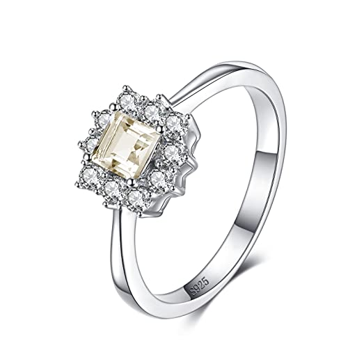 JewelryPalace Halo 0.6ct Genuine Lemon Quartz Ring 925 Sterling Silver E5NYmi