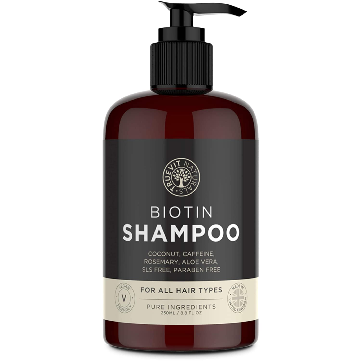 Biotin Shampoo with added Coconut Oil, Aloe Vera, Rosemary Oil Extract and Caffeine for Hair Growth - 250ML - Vegan Shampoo - Paraben Free & SLS Free TRUEVIT NATURALS