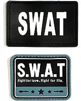 SWAT ワッペン ミリタリー ベルクロ パッチ / マジックテープ 取り付け タイプ 2個セット (ブラック & ブルー) サバゲー コスプレ