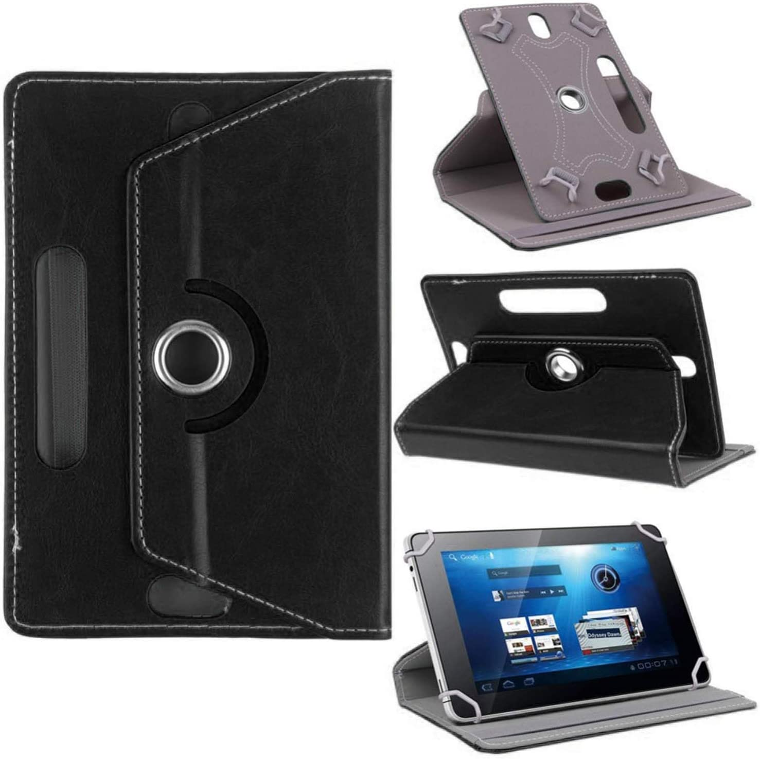 CoverON Universal 9-10.6 inch Screen Size Tablet Case, Multi-Angle Stand Folio Adjustable Protective Cover Compatiable for iPad Samsung Galaxy Tab Acer Lenovo - PU Leather Holder Band (Black)