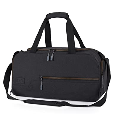 MarsBro Water Resistant Sports Gym Travel Weekender Duffel Bag with Shoe  Compartment Black 3d5b442aab