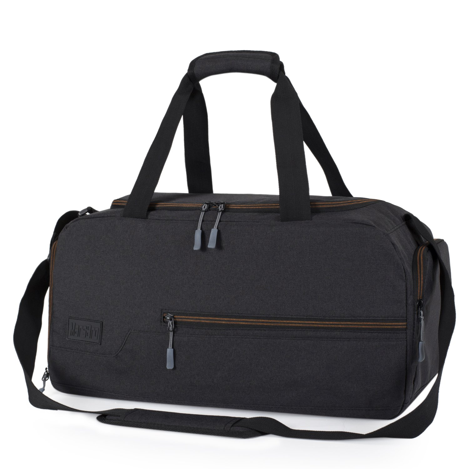 MarsBro Water Resistant Sports Gym Travel Weekender Duffel Bag with Shoe Compartment Black by MarsBro