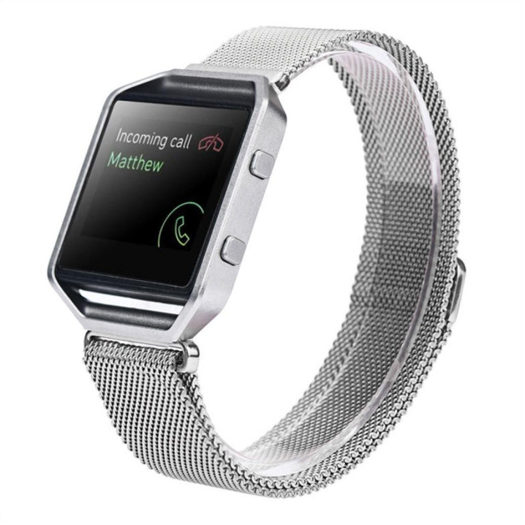 LANDFOX Milanese Magnetic Loop Stainless Steel Bands Strap Bracelet For Fitbit Blaze Silver