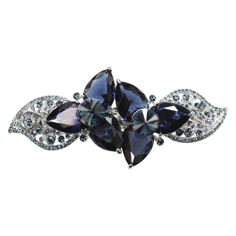 Faship Gorgeous Navy Blue CZ Crystal Floral Hair Barrette Clip