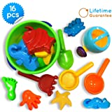 Sand Bucket Toys Icon 16-Piece Baby Beach Toys Set with Zippered Bag + Ebook: Talented Kids Secrets! Play in the pool or sandbox
